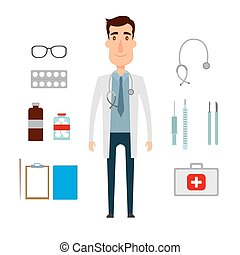 A doctor set of a man with medicine elements. Flat and cartoon style. Vector illustration on white background.