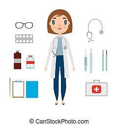 A doctor set of a woman with medicine elements. Flat and cartoon style. Vector illustration on white background.