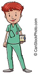 A doctor with a stethoscope - A simple drawing of a doctor ...