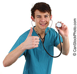 A doctor with a thumbs up