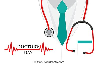 A doctors suit or lab coat with stethoscope