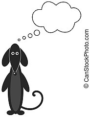 a dog black standing trying to thin