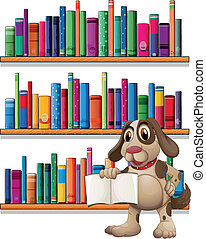 A dog holding a book in front of the bookshelves
