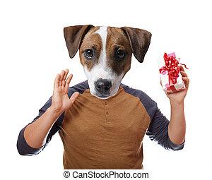 A dog holding present box