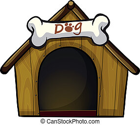 A dog house with a bone - Illustration of a dog house with a...