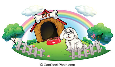 A dog in a dog house with fence