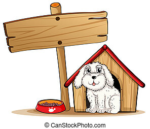 A dog inside the dog house with a wooden signboard