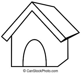 a dog kennel in outline