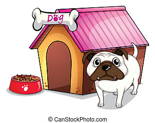 A dog outside the doghouse