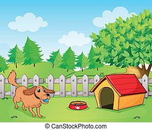 Illustration of a dog playing inside the fence
