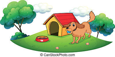 A dog playing with a blue ball near a doghouse -...
