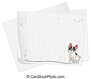 A dog printed on a white paper with musical notes - ...
