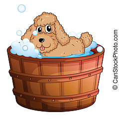 A dog taking a bath