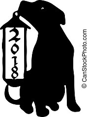 A dog with a Christmas lamp, silhouette on a white background.