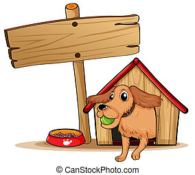 A dog with a doghouse beside an empty signage - Illustration...