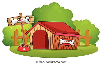 A doghouse at the backyard - Illustration of a doghouse at...