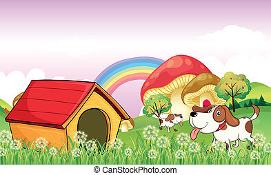 A doghouse near the weeds