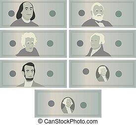Dollars Banknotes Set Vector. Cartoon US Currency. American...