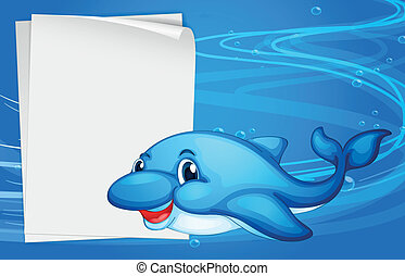 A dolphin beside an empty paper under the sea