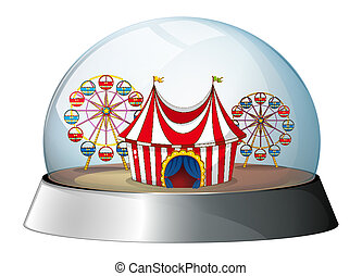 A dome with a carnival inside
