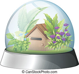 A dome with a native house inside