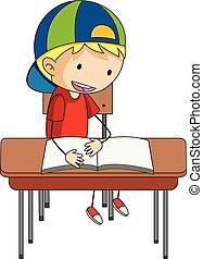A doodle boy reading book