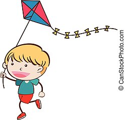 A Doodle Boy with Kite on White Background