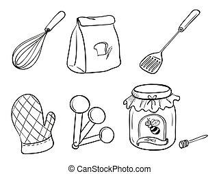 A doodle set of kitchen utensils, baking powder and honey...