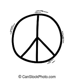 A Doodle-style peace sign isolated on a white background. Symbol of peace.