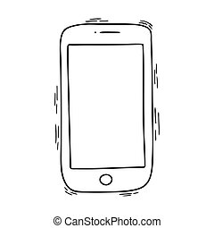A Doodle-style phone isolated on a white background. Image with a black line. Use it as an icon or part of your design.
