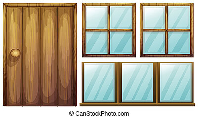 A door and windows - Illustration of a door and windows on a...