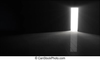 A door opening to dark room with bright light shining in. Background 3D Illustration.
