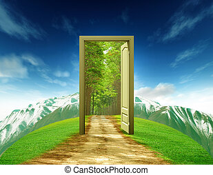 A door taking on summer landscape with old road mountain and bluesky