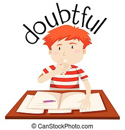 A doubtful boy on white background illustration