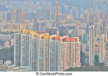 Downtown of Hong Kong, high density, poor area. - a Downtown...