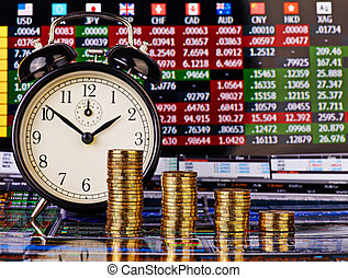 A downtrend columns of golden coins with an alarm clock. Financial chart as background. Selective focus