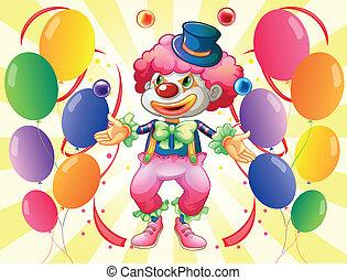 A dozen of colorful balloons with a clown
