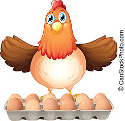 A dozen of eggs and the mother hen - Illustration of a dozen...