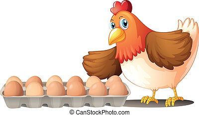 A dozen of eggs in a tray and the hen
