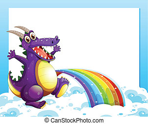 A dragon near the rainbow in front of the empty template