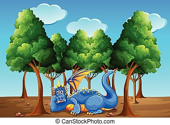 A dragon under the trees