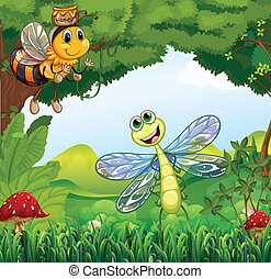 A dragonfly and a bee at the forest - Illustration of a...
