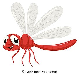 A dragonfly on white background