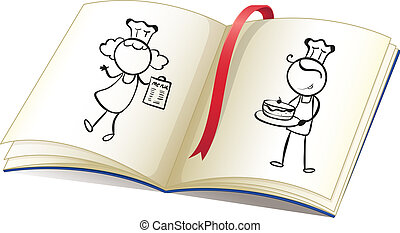 A drawing book with an image of chefs