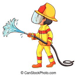 A drawing of a fireman