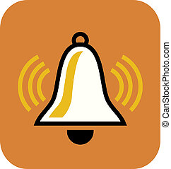 A drawing of a white bell on orange background