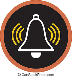 A drawing of an alarm bell on black background
