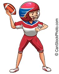 A drawing of an American football player