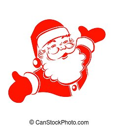 A drawing of Santa Claus hands are bred in different directions.