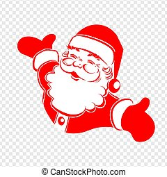 A drawing of Santa Claus hands are bred in different directions of red and white color.